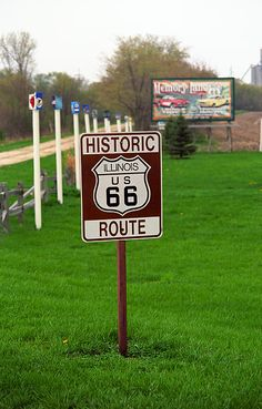 "Old Fashioned Route 66 Shield near Memory Lane, a preserved section of the old highway, in Lexington, Illinois. ""The Fine Art Photography of Frank Romeo."""