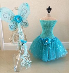 Teal Tutu Fairy Wings Fairy Costume Tinkerbell by partiesandfun