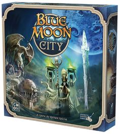 In Blue Moon City, players are looking to restore the buildings of the ancient capital. Collecting together work groups from among the populace, they add their Up Game, Game Art, Classic Board Games, Some Games, Tabletop Games, New Age, Blue Moon, Beautiful Artwork, Card Games