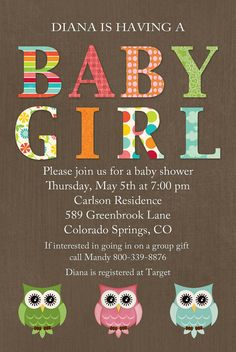 owls baby shower invitations for a baby girl by katiedidesigns, $13.00