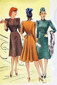 November 1939 vintage fashion color illustration day dress late 30s early 40s war era green tan brown button front tie back swing era WWII