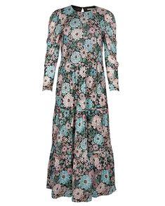 Oliver Bonas Women Textured Check Black Jersey Midi Dress