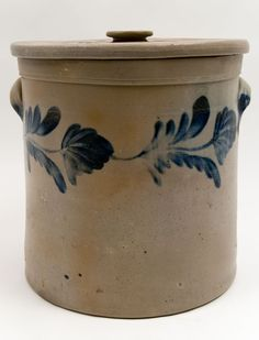 Richard Remmey Lidded Blue Decorated Stoneware Rare Antique American Crock