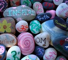 DIY Inspirational Painted Rocks For A Breast Cancer Healing Garden Pebble Painting, Stone Painting, Diy Painting, Rock Painting, Pebble Art, Rock Crafts, Arts And Crafts, Diy Crafts, Sanskrit