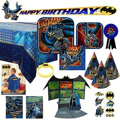 [Batman Birthday Party] Batman Party Supplies and Ultimate Decorations Bundle For 16 Kids - Plates, Napkins, Table Cover, Invitations, Thank You Cards, Banner, Tattoos, Hats, Wristband, Cape, Hero Ribbon (121 Piece) ** Be sure to check out this awesome product. (This is an affiliate link) #BatmanBirthdayParty