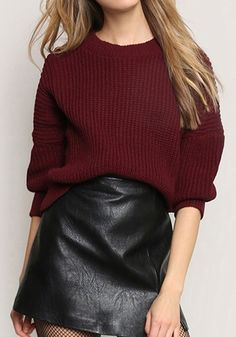 Wine Red Plain Round Neck Fashion Acrylic Pullover Sweater