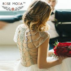 Gorgeous Deep V Neck Short Cap Sleeves Beach Wedding Dress with Rhinestone Back Bohemian Summer Bridal Dress