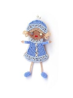 Snow-maiden beaded brooch. Christmas brooch. New Year gift for girls. A Christmas gift.