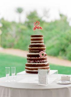 naked-cake-with-flamingo-cake-topper http://itgirlweddings.com/dreamy-weddings-do-come-true/