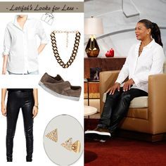 White, leather and BLING! My Look for Less: Monday, November 24, 2014 | Queen Latifah