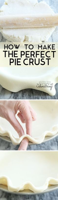 The ultimate step by step guide to how to make the perfect light and flaky gluten free pie crust in just one bowl. With a dairy-free option, too! http://glutenfreeonashoestring.com/gluten-free-pie-crust/