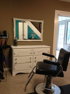 Refinished dresser and mirror using Annie Sloan chalk paint to use for salon station.