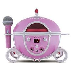 Sing Along Disney Princess CD Player by Disney. $99.00. Your young royal will be able to carry a tune with our Sing Along Disney Princess CD Player. With a design inspired by the pumpkin coach from Cinderella, this CD player includes a microphone and headphone jack for your little princess to sing along to her favorite tunes. The Princess boombox also features two microphone inputs for two player mode. Broadcast that Princess talent! Imported. . Master volume control . M...
