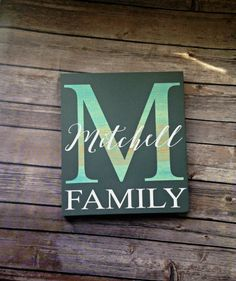 A classic look with clean lines...that is what makes this custom family monogram sign original. This sign makes for an original custom gift for a wedding or housewarming. The recipient will be proud to display this on a mantle or hang it on the wall and will think of you whenever they see it. Fully customizable means that you can request a different color scheme so that it will fit perfectly into your home decor blending seamlessly with your other decor items. Features: - Measures 11 inches…