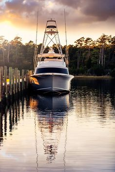 Deep sea fishing boat moored at the dock. Sea Fishing, Saltwater Fishing, Kayak Fishing, Fishing Tips, Speed Boats, Power Boats, Bay Boats For Sale, Viking Yachts, Small Yachts