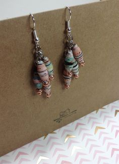 Pastel Paper Bead and Rose Gold Cluster Earrings by MyPaperFrog