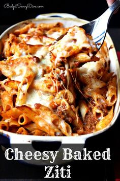 The most amazing baked pasta you will ever have. Recipe post has gluten - free option - Cheesy Baked Ziti Recipe #glutenfree #recipe #healthy #recipes #gluten