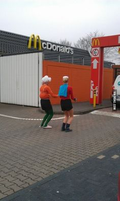 Mermaid man and Barnacle boy driving through with the invisible boatmobile! Lol! Seems legit.