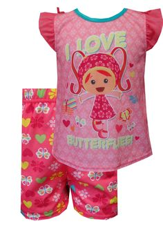 Nickelodeon Team Umizoomi Milli Pink Toddler Pajamas  One, two three, go! These jammies feature Milli from the popular Nick Jr. show Team Umizoomi surrounded by colorful butterflies. Pull on printed coordinating shorts and ruffle cap sleeve detailing make these pink shortie jammies sure to please any Team Umizoomi fan. These pajamas for toddler girls are flame resistant fabric. $17