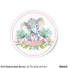 Girls Elephant Baby Shower Stickers | Zazzle.com
