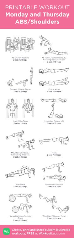 Monday and Thursday ABS/Shoulders Revised:my visual workout created at WorkoutLabs.com • Click through to customize and download as a FREE PDF! #customworkout