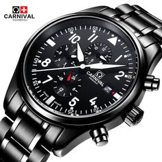 ==> [Free Shipping] Buy Best Carnival Waterproof Watch Pilot Style Men black Stainless steel Automatic Mechanical Date Watches Clock relogio masculine 40MM Online with LOWEST Price | 32638777277