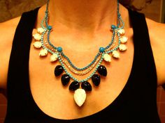 someone buy me this - Turquoise Hand Painted Rhinestone Necklace  Tom by JenHoodenpyle, $53.00