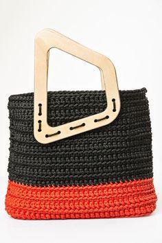 Knitted handbag/ handmade handbag/ black&red handbag/ by Ocdeco