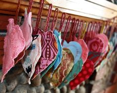 Valentine heart ornaments strung into a garland.  Valentine's Day 2010.