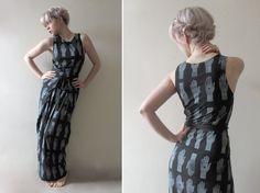 Hand Printed Jersey Wrap Maxi Dress  'Tarot' by littlelostsoul