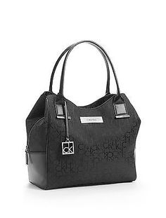 6cb3177bc Calvin Klein logo jacquard center zip hobo Bag handbag black