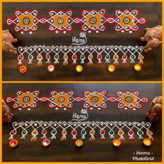 Border kolam Source by shobhanasub. Simple Rangoli Border Designs, Indian Rangoli Designs, Rangoli Designs Flower, Rangoli Borders, Small Rangoli Design, Rangoli Patterns, Rangoli Ideas, Rangoli Designs With Dots, Flower Rangoli