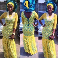 Nigerian wedding yellow and blue ore-iyawo aso-ebi color combination