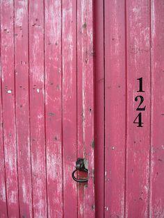pink barn doors.
