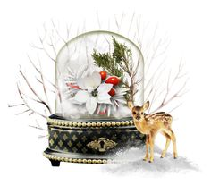 """christmas flower snow globe contest"" by empathetic ❤ liked on Polyvore featuring art"