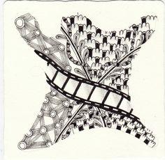 Ein Zentangle aus den Mustern Somnee, Swizzlestik, Henna M, Filmz gezeichnet von Ela Rieger, CZT