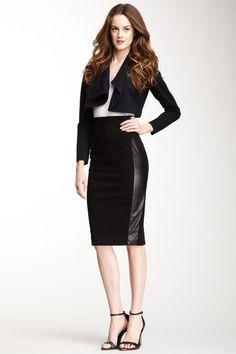 Beatrice B Ponte Eco-Leather Trim Pencil Skirt by Top Fall Trend: Leather & Vegan Leather on @HauteLook