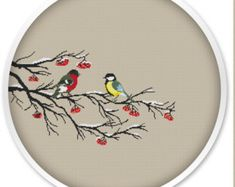 Winter Birds Cross Stitch Pattern, Instant Download, Free shipping, handmade design, Cross stitch patterns.#028