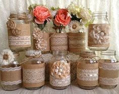 10x rustic burlap and black lace covered mason jar di PinKyJubb