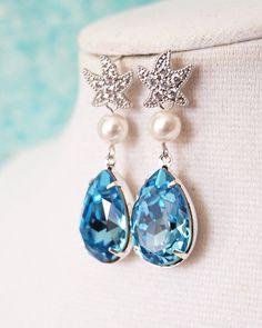 Starfish Earrings with Swarovski Crystal, Bridal Earrings, Brides Wedding Jewelry, Beach Wedding Jewelry, long earrings, something blue, www.glitzandlove.com