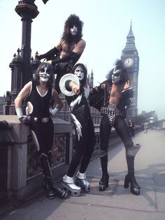 Peter Criss, Paul Stanley, Ace Frehley and Gene Simmons of KISS in London, 1976 at the Various Locations in Various Cities, Unspecified. (Photo by Chris Walter/WireImage)