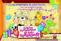 Tarjeta de cumpleaños en familia-Varios personajeszea deseando un feliz cumpleaños. © ZEA www.tarjetaszea.com