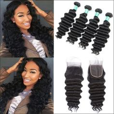 Hair Extensions & Wigs 3/4 Bundles With Closure Fashion Style Alipearl Brazilian Deep Wave 4 Bundles With Frontal Closure Human Hair Bundles With Closure Remy Hair Extension Natural Color