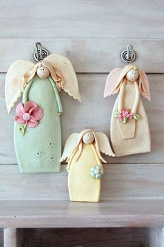 Christmas Clay, Christmas Ornament Crafts, Polymer Clay Ornaments, Polymer Clay Art, Clay Projects, Clay Crafts, Ceramic Angels, Shabby Chic Crafts, Cute Clay