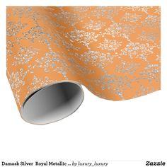 Damask Silver  Royal Metallic Coral Orange Delicat Wrapping Paper