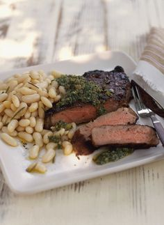 Grilled Steak with White Beans and Salsa Verde #GlutenFree