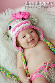 Love the little Rainbow Sock monkey hat and diaper set for sale for the little girls at NitaMaesGarden on Etsy! So cute and colorful!
