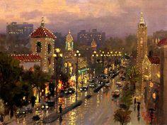Rainy Lights Plaza  (Kansas City) by Thomas Kinkade