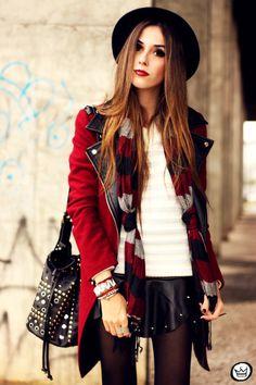 Jumper & Red coat & Black Leather Skirt from fashioncoolture.com.br