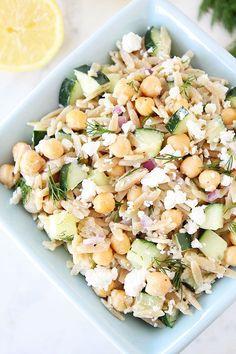 Orzo Salad with Chickpeas, Cucumbers, Lemon, Dill, & Feta Recipe on twopeasandtheirpod.com #salad #vegetarian #summer